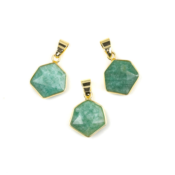 Amazonite 15x24mm Faceted Irregular Hexagon Pendant with Gold Plated Bezel and Bail - 1 per bag