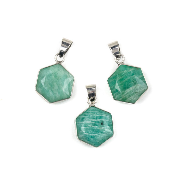 Amazonite 15x24mm Faceted Irregular Hexagon Pendant with Silver Plated Bezel and Bail - 1 per bag