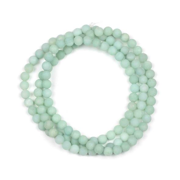 Matte Blue Amazonite 6mm Mala Round Beads - 29 inch strand