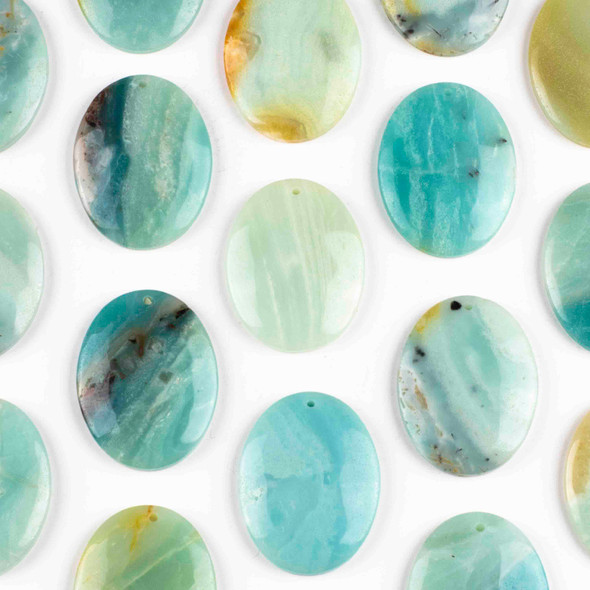 Amazonite 35x45mm Top Front to Back Drilled Oval Pendant with a Flat Back - 1 per bag