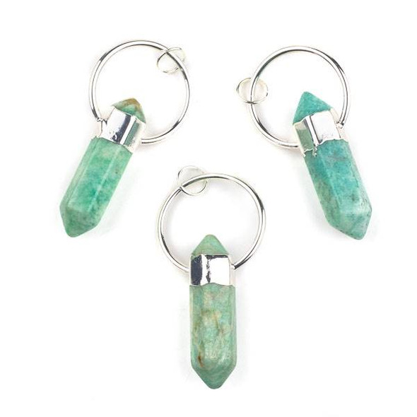 Amazonite 14x45mm Hexagonal Point and Silver Plated Brass 30mm Hoop Pendant with 8mm Open Jump Ring - 1 per bag