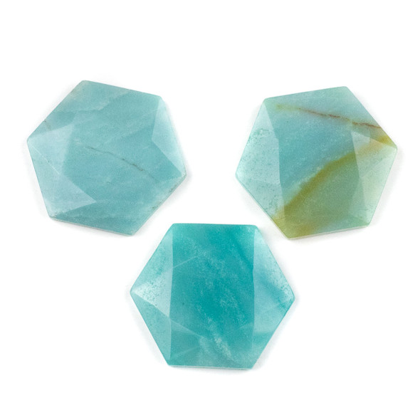 Amazonite 40x45mm Top Drilled Faceted Hexagon Pendant - 1 per bag