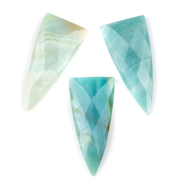 Amazonite 25x55mm Faceted Top Drilled Shield Pendant - 1 per bag