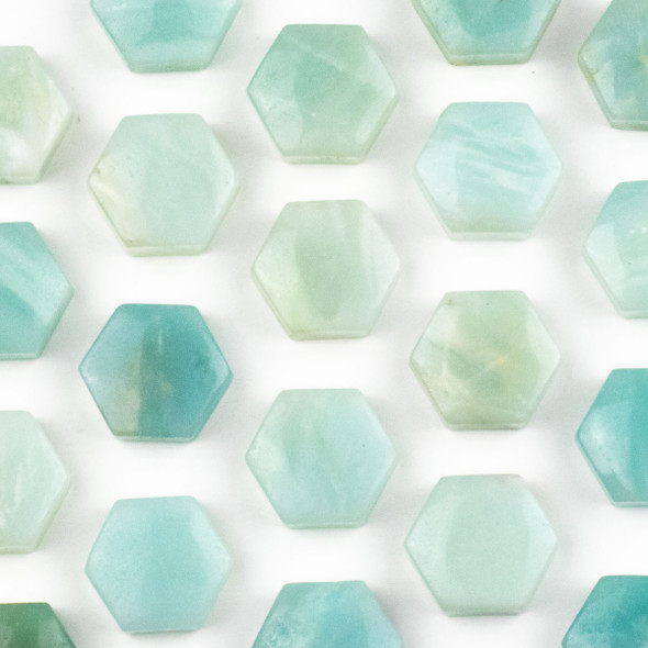 Amazonite 16x18mm Top Drilled Hexagon Pendant - 1 per bag