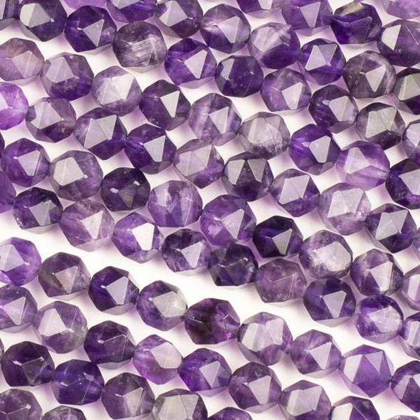 Amethyst 7-8mm Simple Faceted Star Cut Beads - 15 inch strand