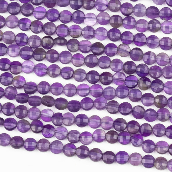 Amethyst 4mm Micro Faceted Coin Beads - 15 inch strand