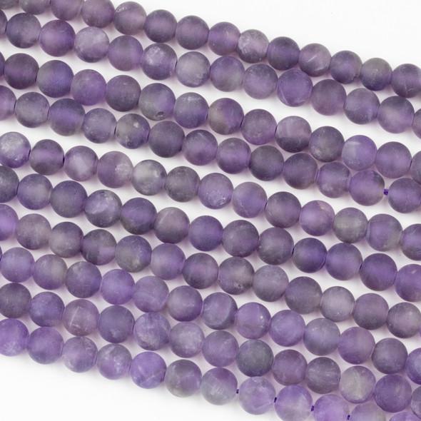 Matte Amethyst 6mm Round Beads - 16 inch strand