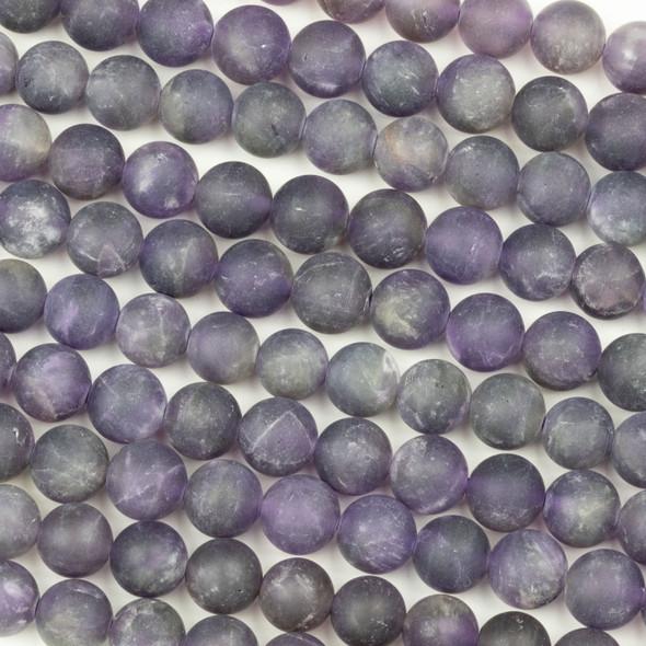 Matte Amethyst 8mm Round Beads - 16 inch strand
