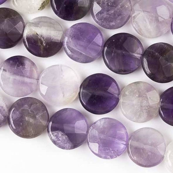 Amethyst Faceted 10mm Coin Beads - approx. 8 inch strand, Set B