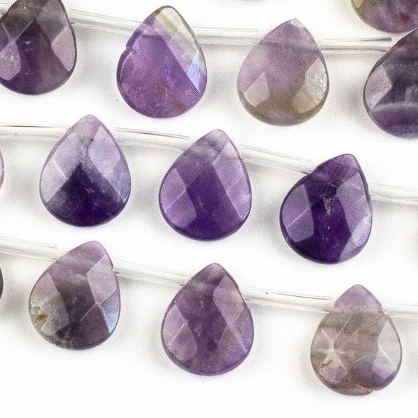Amethyst Faceted 12x15mm Top Drilled Teardrop Beads - approx. 8 inch strand, Set B