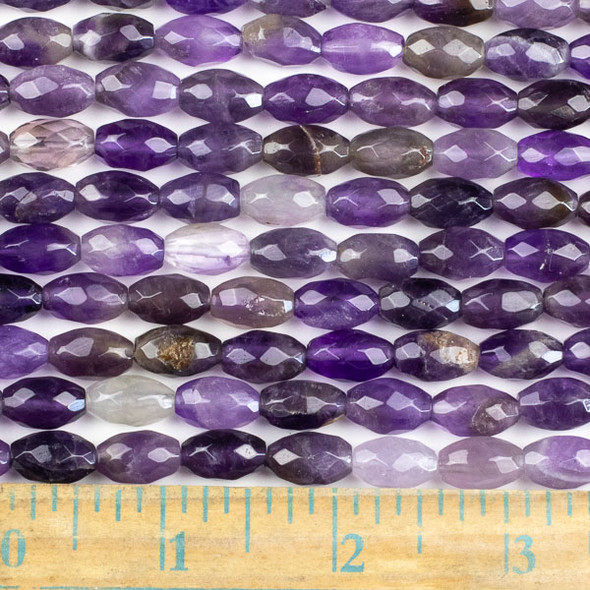 Amethyst Faceted 8x12mm Rice Beads - approx. 8 inch strand, Set B