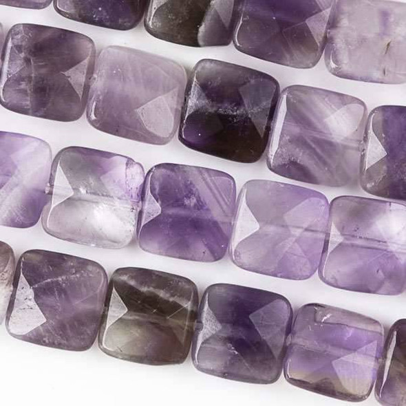 Amethyst Faceted 10mm Square Beads - approx. 8 inch strand, Set B