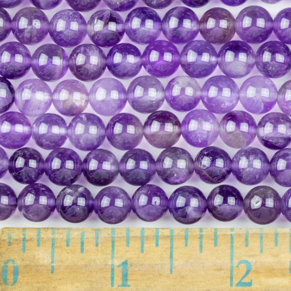 Amethyst 8mm Round Beads - approx. 8 inch strand, Set A