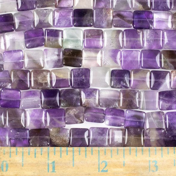 Amethyst 10mm Square Beads - approx. 8 inch strand, Set A