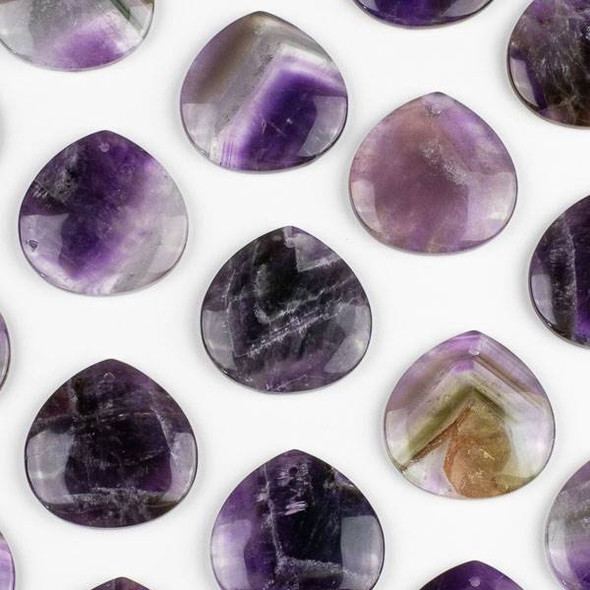 Amethyst 40mm Top Front to Back Drilled Almond Pendant with a Flat Back - 1 per bag