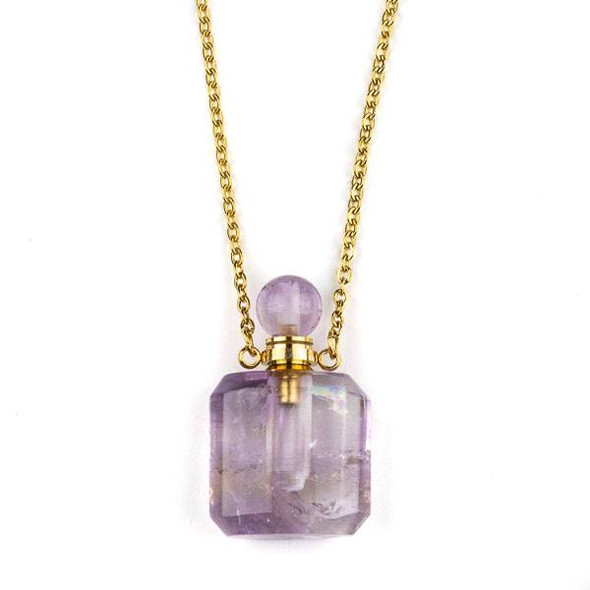 Amethyst 19x34mm Rounded Square Perfume Bottle Necklace with Gold Plated Stainless Steel Chain