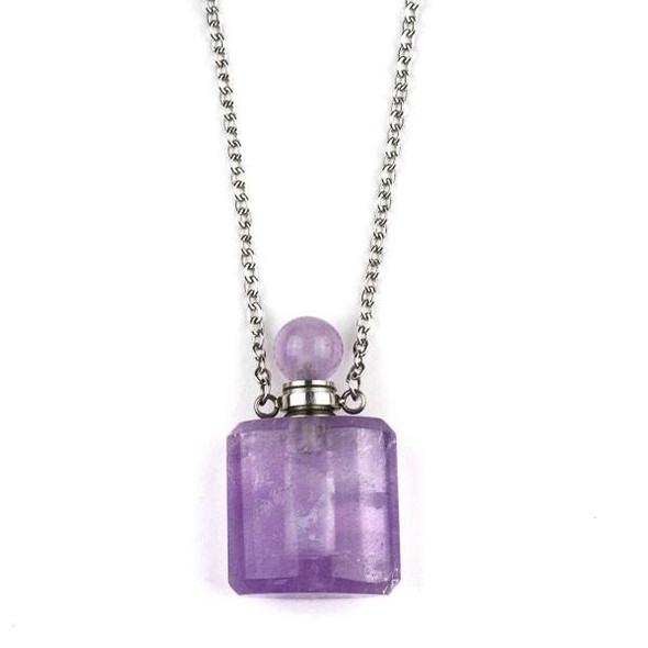 Amethyst 19x34mm Rounded Square Perfume Bottle Necklace with Silver Stainless Steel Chain