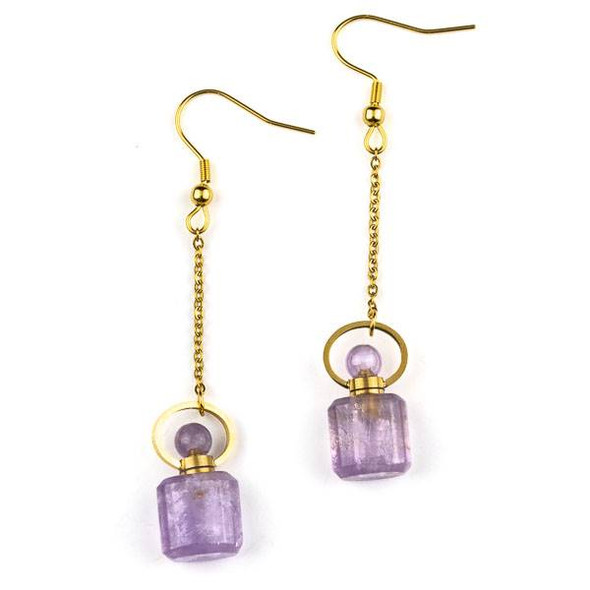 Amethyst 11x19mm Rounded Square Perfume Bottle Earrings with Gold Plated Stainless Steel - 1 pair