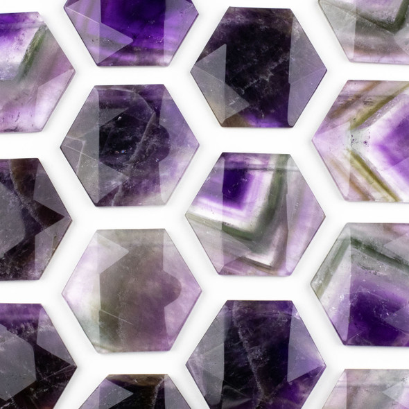Amethyst 40x45mm Top Drilled Faceted Hexagon Pendant - 1 per bag