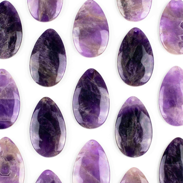 Amethyst 30x50mm Top Front to Back Drilled Teardrop Pendant with a Flat Back - 1 per bag