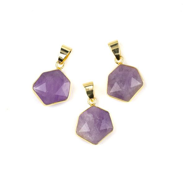 Amethyst 15x24mm Faceted Irregular Hexagon Pendant with Gold Plated Bezel and Bail - 1 per bag
