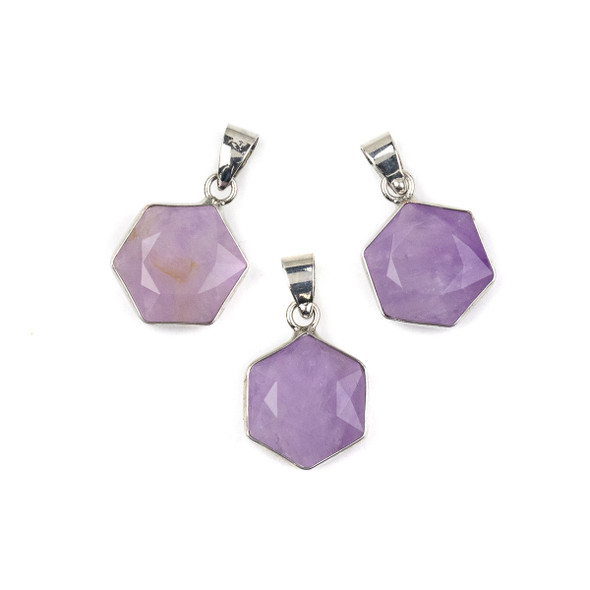 Amethyst 15x24mm Faceted Irregular Hexagon Pendant with Silver Plated Bezel and Bail - 1 per bag