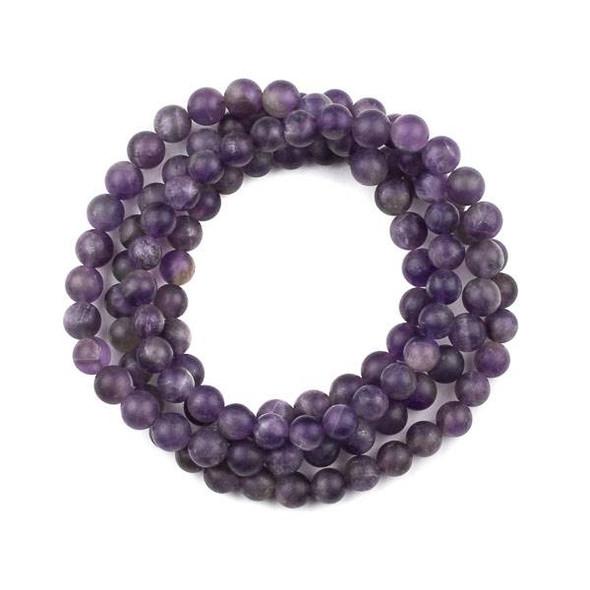 Matte Amethyst 8mm Mala Round Beads - 36 inch strand