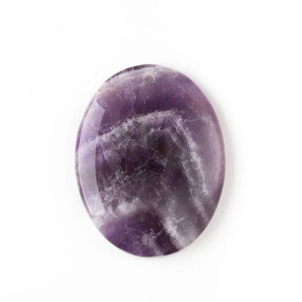 Amethyst 35x45mm Top Front to Back Drilled Oval Pendant with a Flat Back - 1 per bag