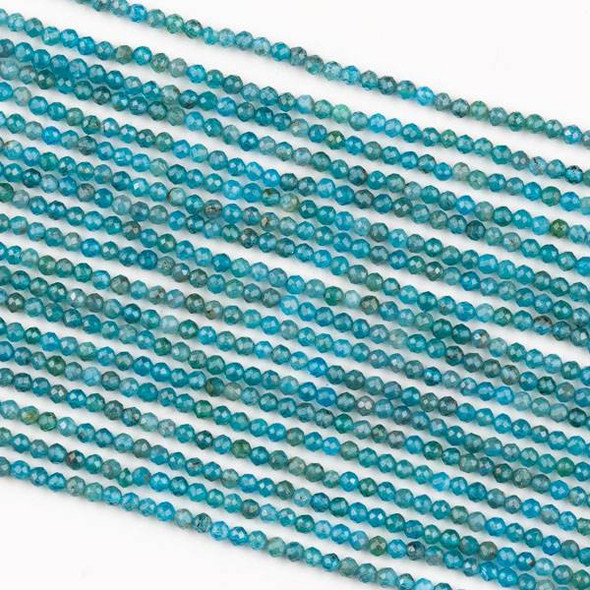 Apatite 2mm Faceted Round Beads - 15 inch strand