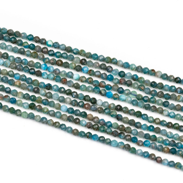 Apatite 3mm Faceted Round Beads - 15 inch strand