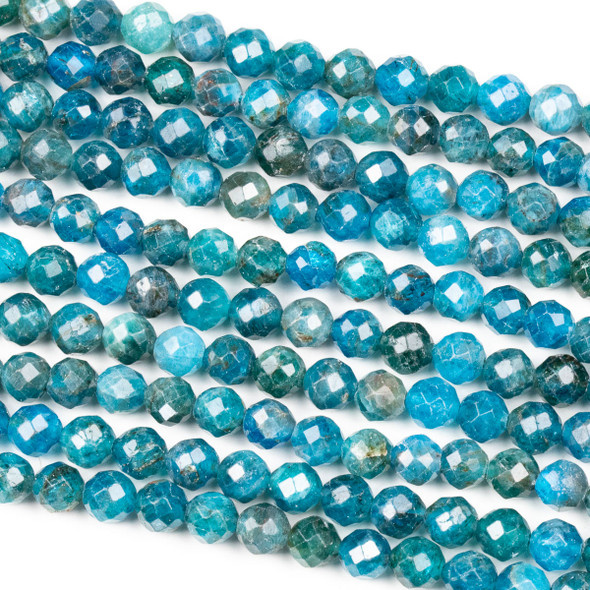 Apatite 6mm Faceted Round Beads - 16 inch strand