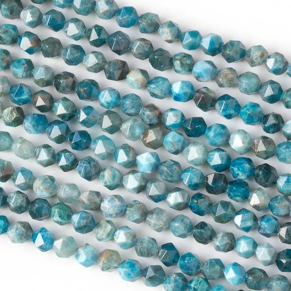 Apatite 6mm Simple Faceted Star Cut Beads - 16 inch strand