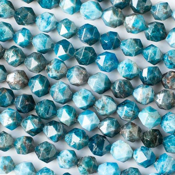 Apatite 9mm Simple Faceted Star Cut Beads - 16 inch strand