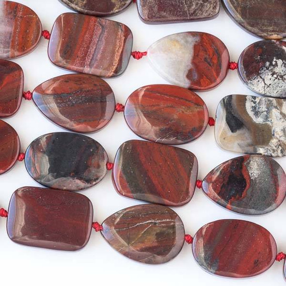 Apple Jasper 18x25mm Alternating and Knotted Oval, Teardrop, and Rectangle Beads - 16 inch strand