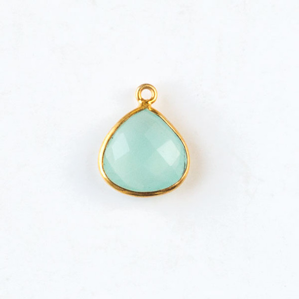 Aqua Chalcedony approximately  13x16mm Faceted Small Almond Teardrop Drop with Gold Plated Brass Bezel