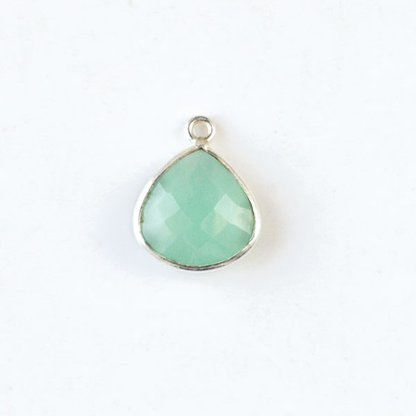 Aqua Chalcedony approximately approximately 13x16mm Faceted Small Almond Teardrop Drop with Silver Plated Brass Bezel