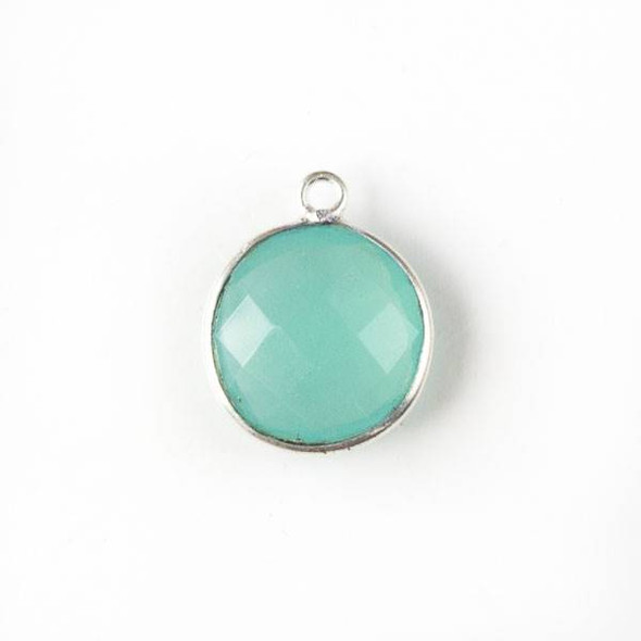 Aqua Chalcedony 13x16mm Faceted Coin Drop with Silver Plated Brass Bezel
