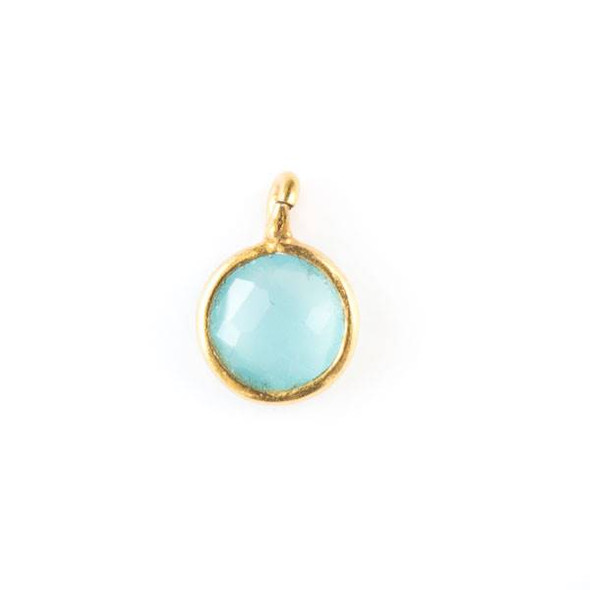 Aqua Chalcedony 7x10mm Coin Drop with a Gold Plated Brass Bezel