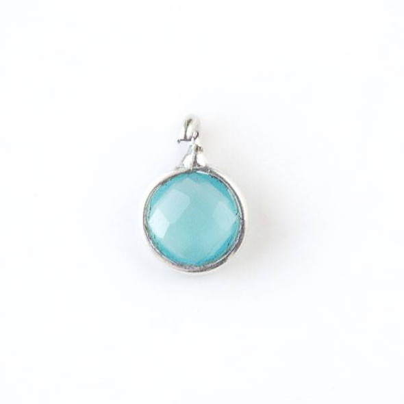 Aqua Chalcedony 7x10mm Coin Drop with a Silver Plated Brass Bezel