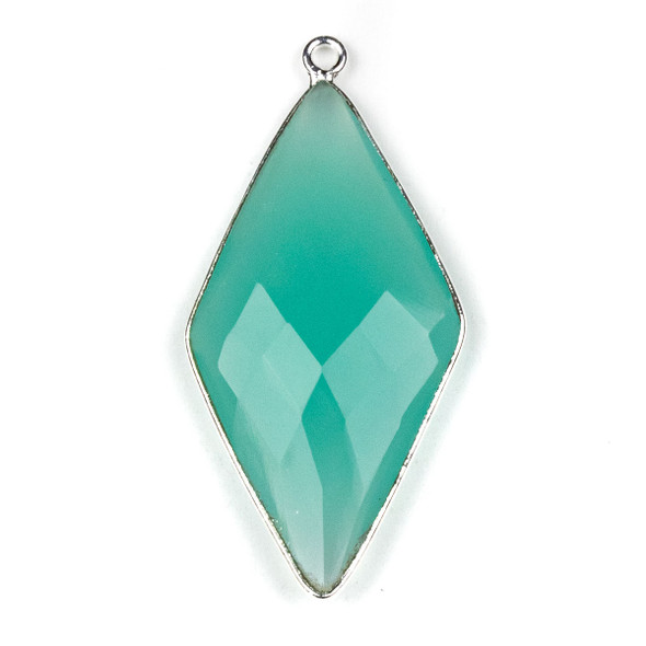 Aqua Chalcedony approximately 21x44mm Diamond Drop with a Silver Plated Brass Bezel - 1 per bag