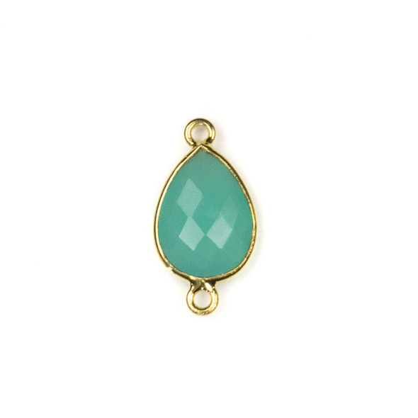 Aqua Chalcedony approximately 11x22mm Teardrop Link with a Gold Plated Brass Bezel - 1 per bag