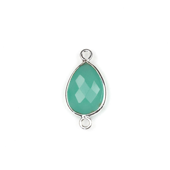 Aqua Chalcedony approximately 11x22mm Teardrop Link with a Silver Plated Brass Bezel - 1 per bag