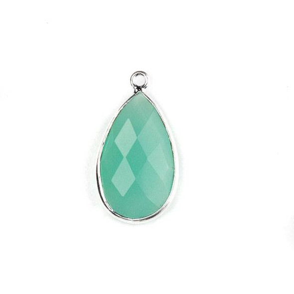Aqua Chalcedony approximately 13x24mm Faceted Teardrop Drop with a Silver Plated Brass Bezel