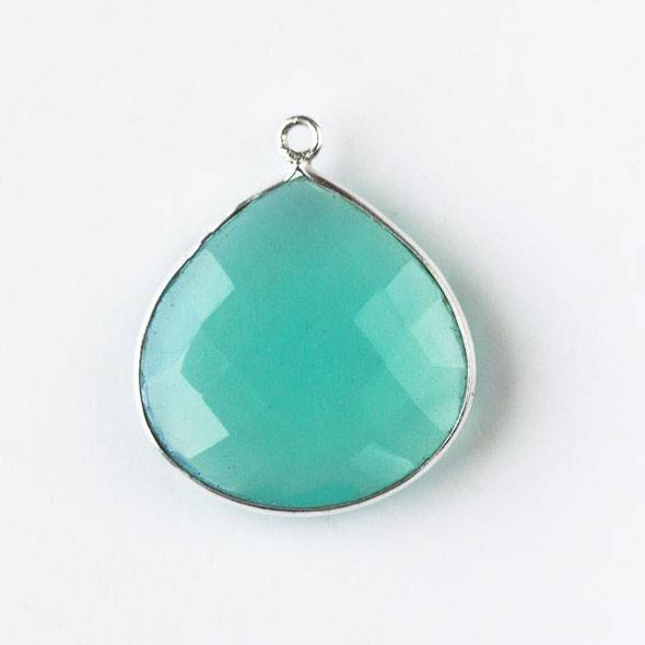 Aqua Chalcedony approximately 20x24mm Faceted Almond/Teardrop Drop with a Silver Plated Brass Bezel
