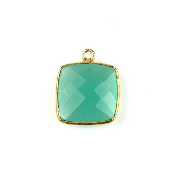 Aqua Chalcedony 15X18mm Square Drop with a Gold Plated Brass Bezel - 1 per bag
