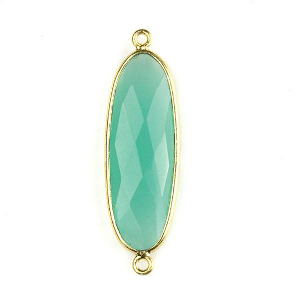 Aqua Chalcedony 12x38mm Faceted Oval Link with a Gold Plated Brass Bezel