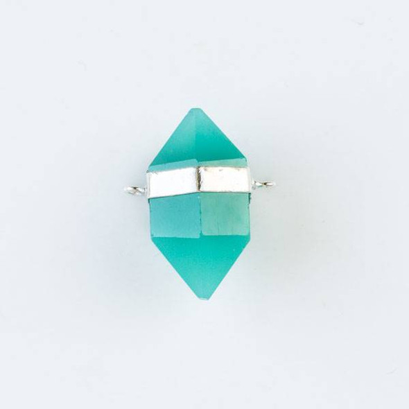 Aqua Chalcedony 16x26mm Hexagonal Point Pendant with 2 Silver Plated Brass Loops