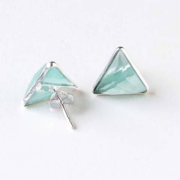 Aqua Chalcedony 12x13mm Triangle Sterling Silver Stud Earrings
