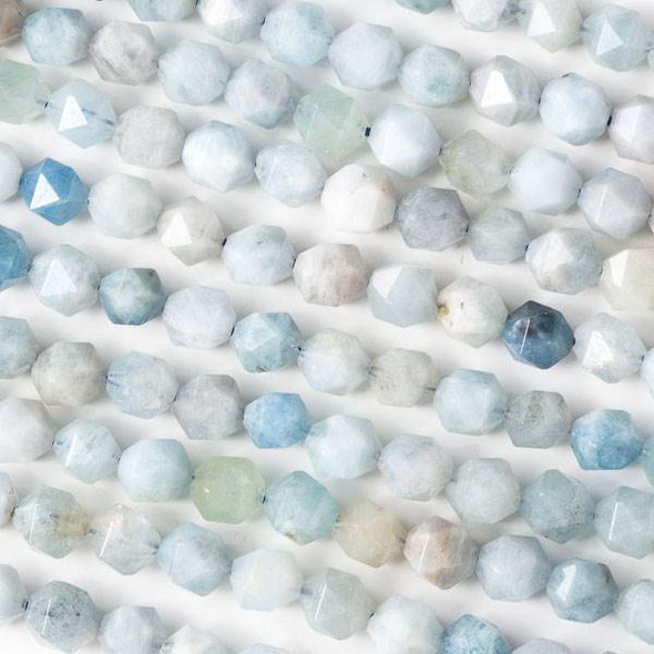 Aquamarine 8mm Simple Faceted Star Cut Beads - 16 inch strand