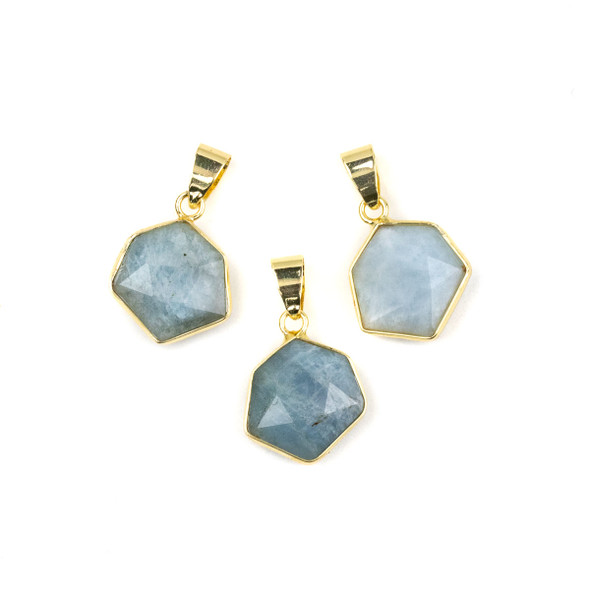 Aquamarine 15x24mm Faceted Irregular Hexagon Pendant with Gold Plated Bezel and Bail - 1 per bag